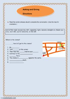 giving directions interactive worksheet. Black Bedroom Furniture Sets. Home Design Ideas