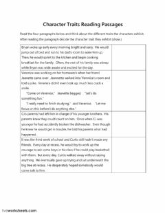 Interactive worksheet Character Traits Reading Passage Open Ended