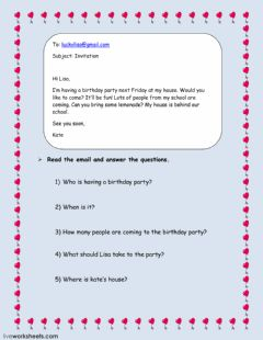 Birthday invitation  worksheet preview