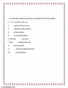 Verb be contracted forms worksheet preview