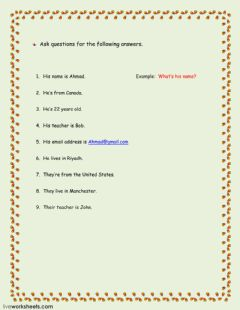 Asking questions worksheet preview