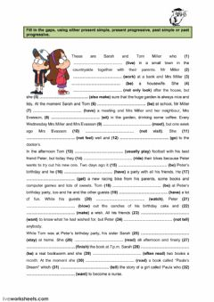 Interactive worksheet Present simple-progressive, Past simple-progressive