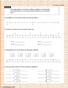 Interactive worksheet La recta entera