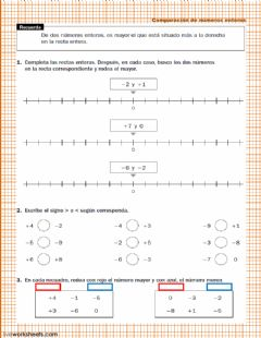 Interactive worksheet Comparación de números enteros