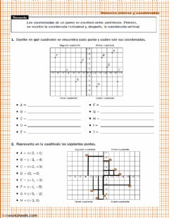 Interactive worksheet Números enteros y coordenadas