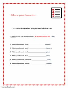 Interactive worksheet Favourites