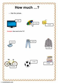 Interactive worksheet prices