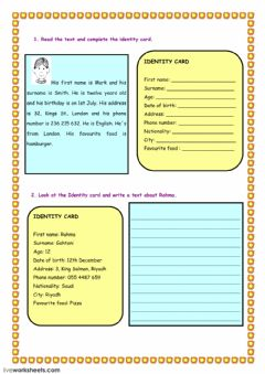 Interactive worksheet ID card