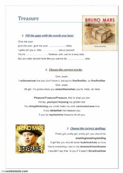 Interactive worksheet Treasure- Bruno Mars