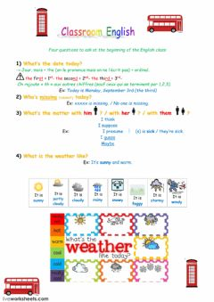 Interactive worksheet Teaching assistant's four questions to start the Englsh class