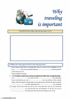 Interactive worksheet Why traveling is important