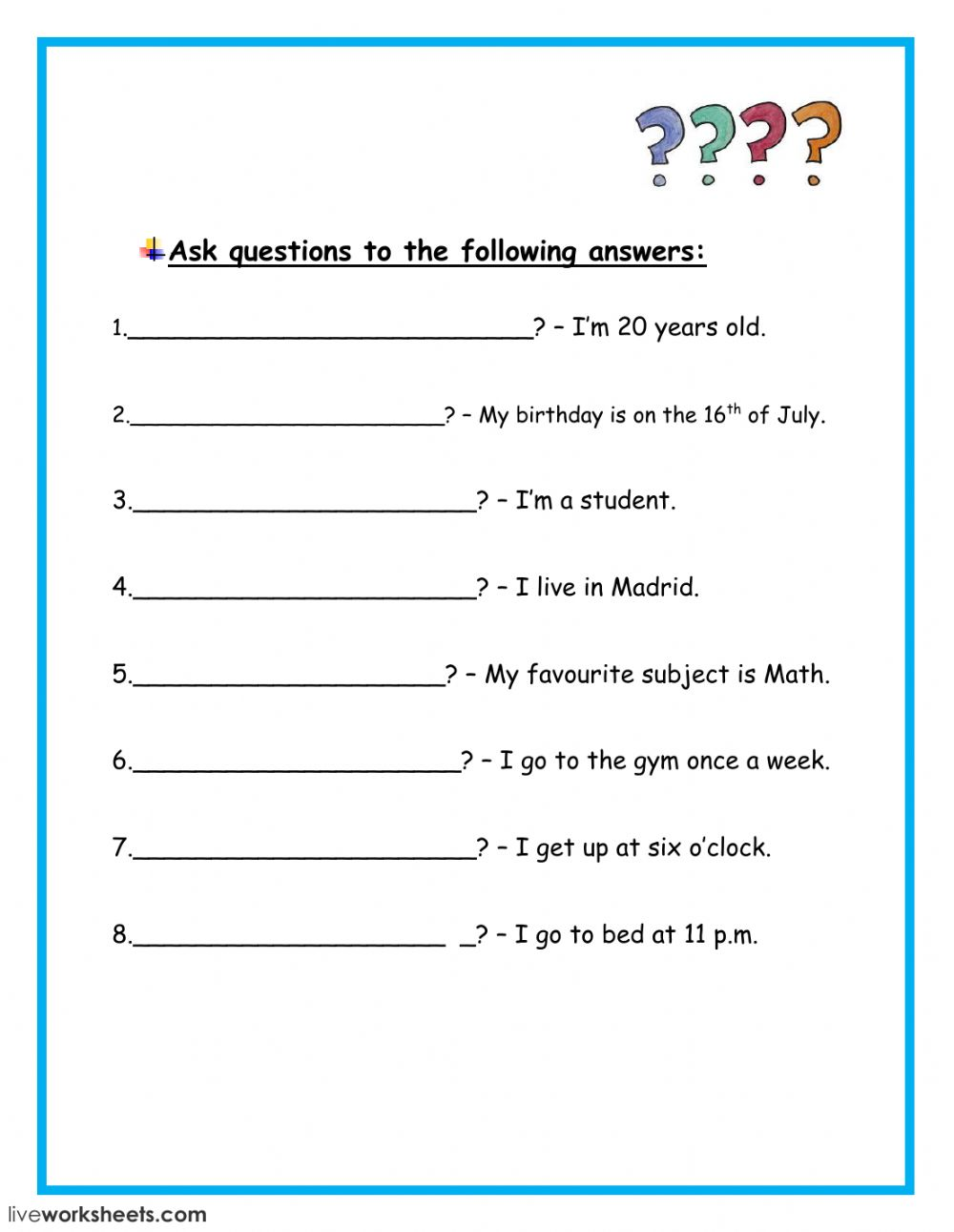 Asking questions - Interactive worksheet