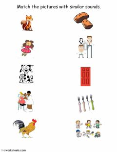 Ficha interactiva Match the pictures with similar sounds