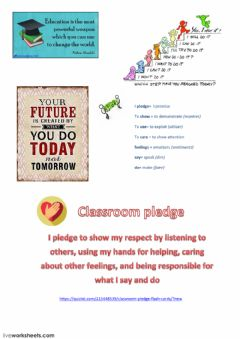 Interactive worksheet Classroom pledge