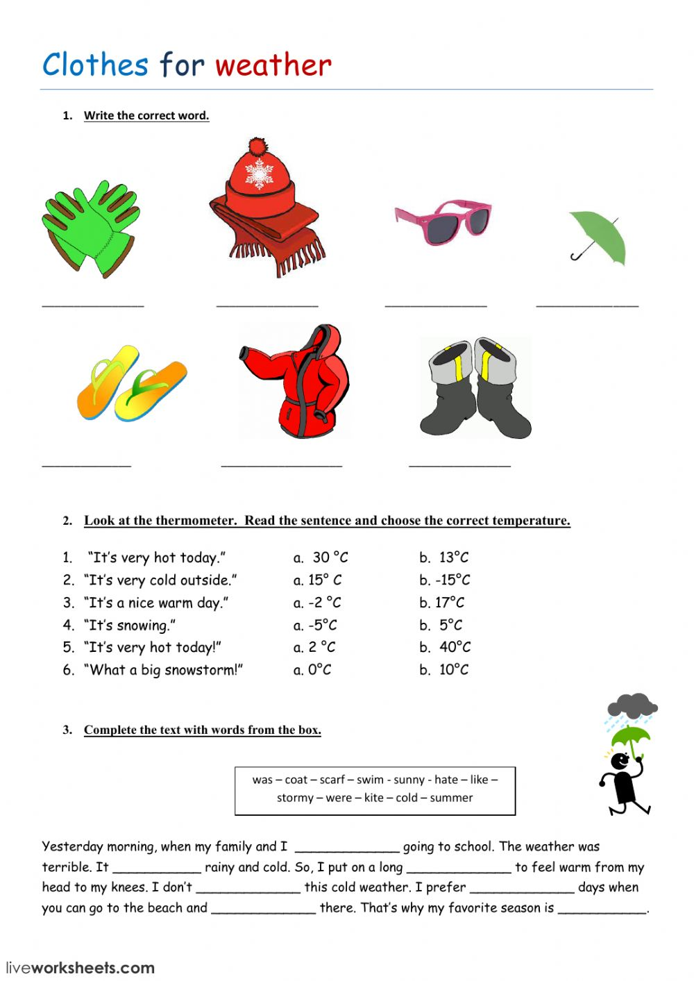 Clothes And Weather Interactive Worksheet