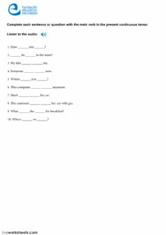 Interactive worksheet Present Continuous IV