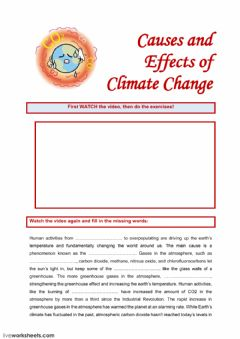 Interactive worksheet Causes and Effects of Climate Change