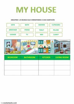 Interactive worksheet ROOMS OF HOUSE