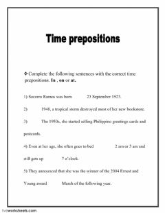 Interactive worksheet Time prepositions