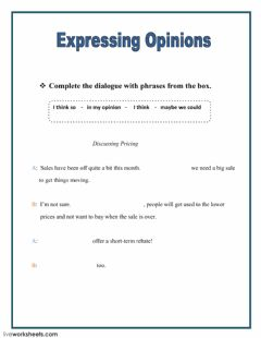 Interactive worksheet Expressing Opinions