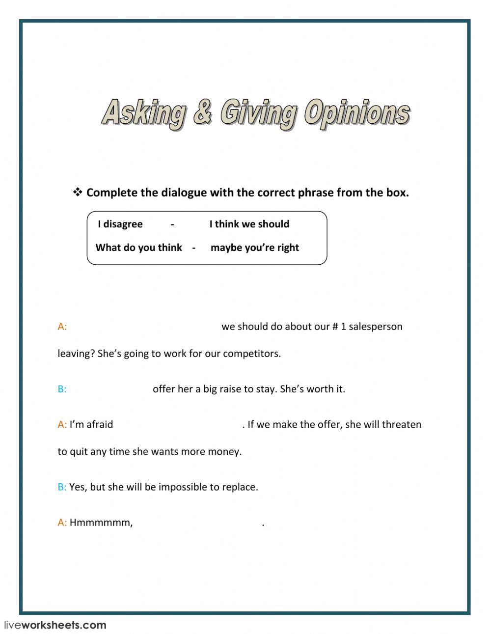 Worksheets Worksheet-asking-and-giving-opinion asking and giving opinions interactive worksheet text