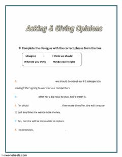 Interactive worksheet Asking and Giving Opinions