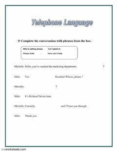 Interactive worksheet Telephone Language