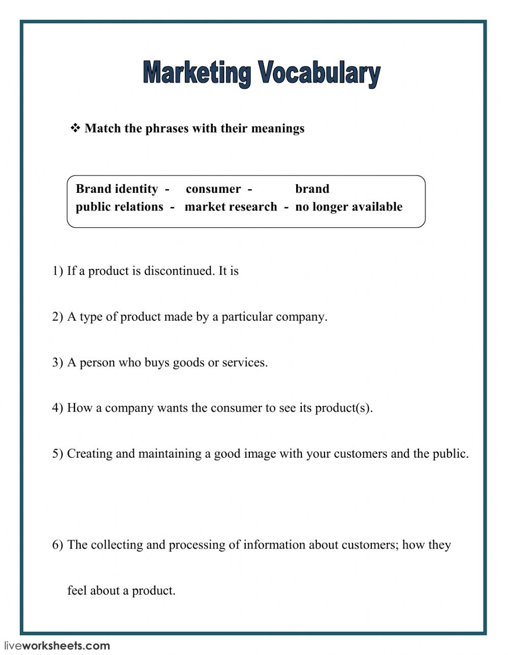 Vocabulary: online and pdf worksheet