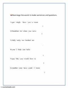 Interactive worksheet Hotel Vocabulary