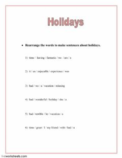 Interactive worksheet Holidays