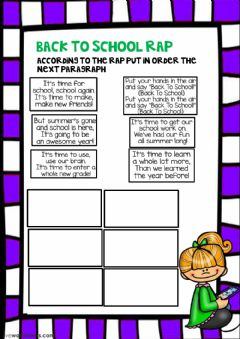 Interactive worksheet back to school rap