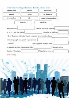 Interactive worksheet urbanites listening