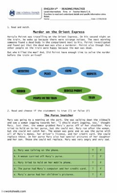 Interactive worksheet Reading practice Crime fiction