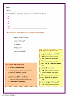 Interactive worksheet To be test
