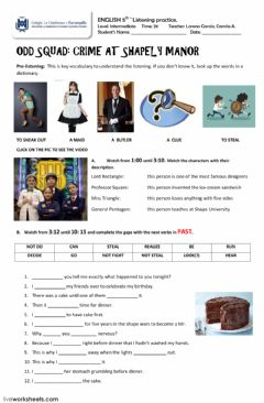 Interactive worksheet Crime - Odd Squad serie - 1st part