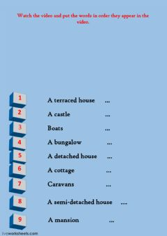 Interactive worksheet types of houses video