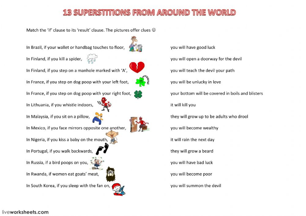 Superstitions - 1st Conditional - Interactive worksheet