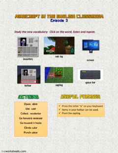 Interactive worksheet Minecraft Episode 3 LW1