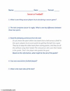 Interactive worksheet Soccer or Football?