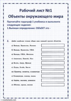 Interactive worksheet Информатика 6  класс Объекты