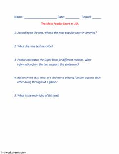 Interactive worksheet The Most Popular Sport in USA