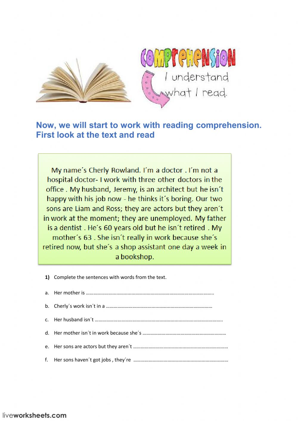 Reading elementary 1: Reading comprehension exercise
