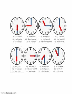 Interactive worksheet Say time