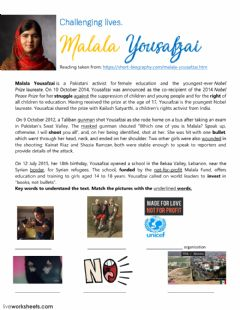Interactive worksheet Malala Yousafza short biography