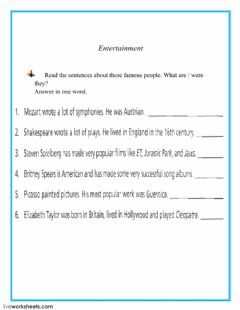 Interactive worksheet Entertainment
