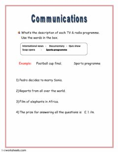 Interactive worksheet Radio - TV Programmes