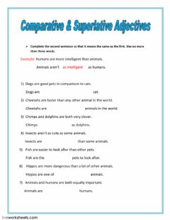 Ficha interactiva Comparative and superlative adjectives