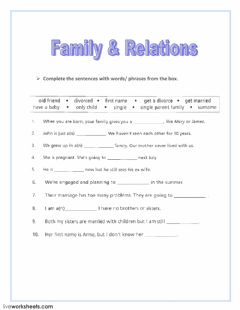 Interactive worksheet Family - Relations
