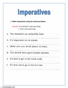 Imperatives worksheet preview