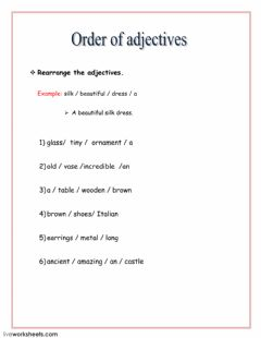 Interactive worksheet order of adjectives